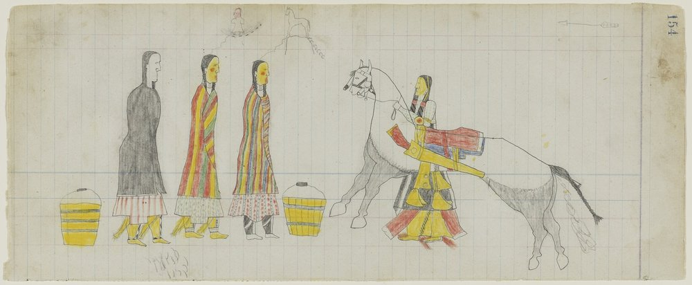 American (Southern Tsistsistas), active late 19th century, Untitled (Three Tsistsistas [Cheyenne] Women and a Man and a Horse) , page 154 from the  Arrow's Elk Society Ledger , about 1874–75. Graphite and colored pencil on laid ledger paper, 6 1/16 × 14 3/4 in. Hood Museum of Art, Dartmouth College: Purchased through a gift from Mary Alice Kean Raynolds and David R. W. Raynolds, Class of 1949, in honor of Susan and James Wright, 16th President of Dartmouth College; 2008.71.3.