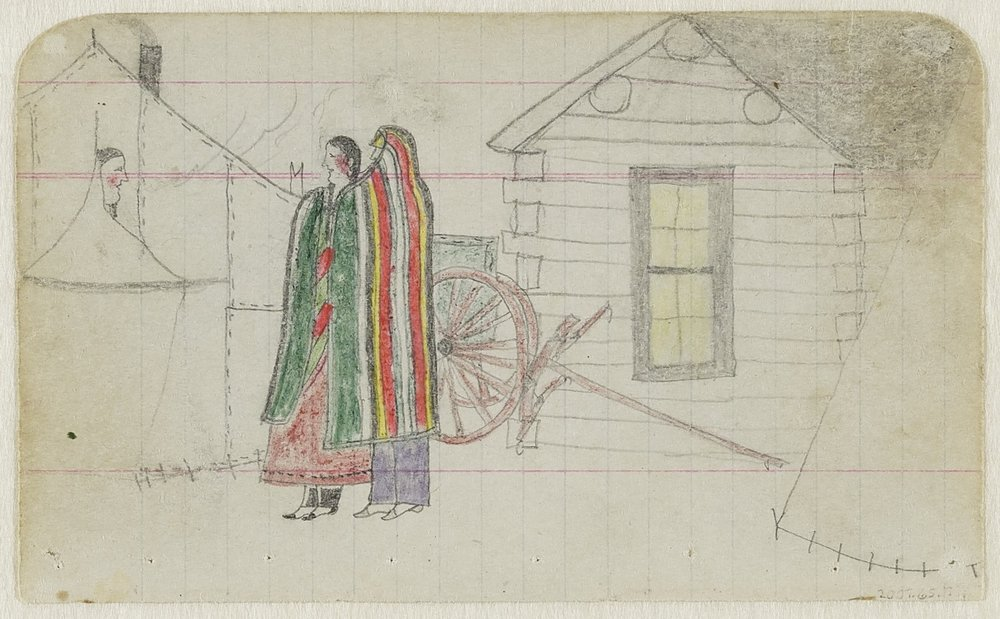 Robert Ridge Walker, American (Northern Tsistsistas), about 1860–about 1965, Untitled (A Northern Tsistsistas [Cheyenne] Courting Couple) , from a Robert Ridge Walker ledger, 1901. Graphite and colored pencil on small wove notebook paper, 7 7/16 × 5 3/4 in. Hood Museum of Art, Dartmouth College: Mark Lansburgh Ledger Drawing Collection; Partial gift of Mark Lansburgh, Class of 1949; and partial purchase through the Mrs. Harvey P. Hood W'18 Fund, and the Offices of the President and Provost of Dartmouth College; 2007.65.79.