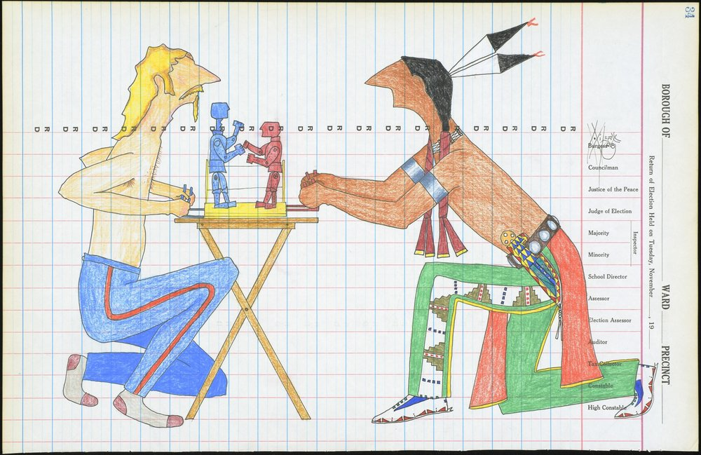 Dwayne Wilcox, American (Oglala Lakota), born 1957, Best Two Outa Three , 2008. Crayon, graphite, colored pencil, and felt-tipped pen on ledger paper, 11 7/16 × 17 11/16 in. Hood Museum of Art, Dartmouth College: Purchased through the Guernsey Center Moore 1904 Fund; 2008.59.7. ©Dwayne Wilcox