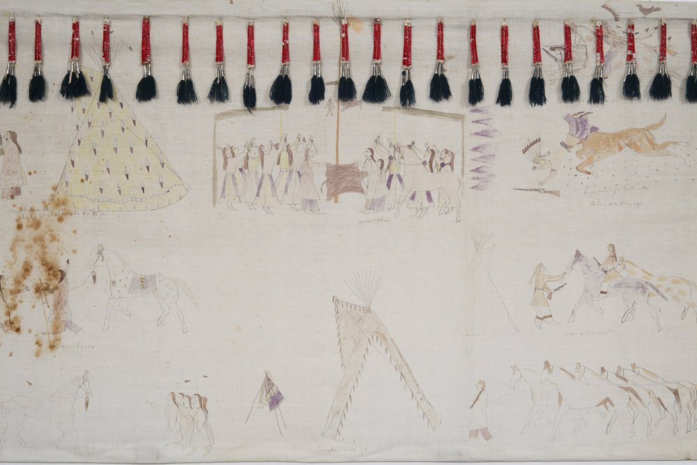 Hunkpapa Lakota,tipi liner depicting Cehupa's (Jaw) exploits, about 1910. Muslin, paint, porcupine quills, rawhide, native-tanned hide, cotton cloth, tin cones, dye, wool yarn, ink, string, and thread, 34 13/16 × 147 1/4 in. Hood Museum of Art, Dartmouth College: Purchased through the Mrs. Harvey P. Hood W'18 Fund; 2009.10.
