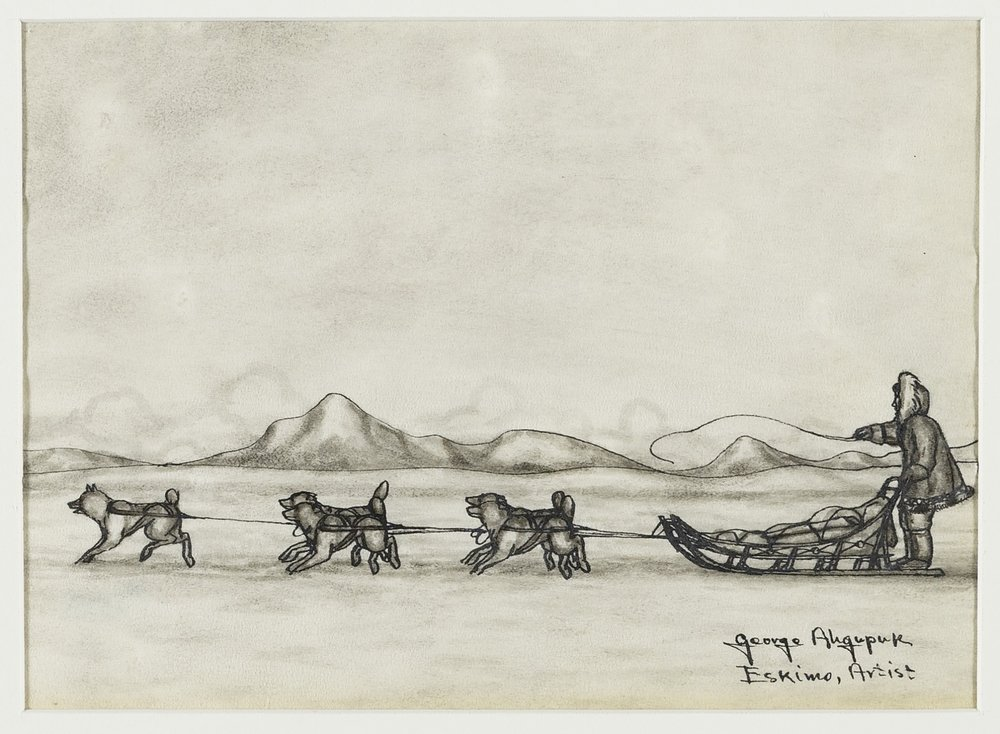 George Twok Aden Ahgupuk, American (Iñupiaq), 1911–2001,  Untitled (Dog Team and Sled) , 1950s. Graphite on bleached sealskin, 4 15/16 × 7 in. Hood Museum of Art, Dartmouth College: Bequest of Evelyn Stefansson Nef; 2014.17.6.