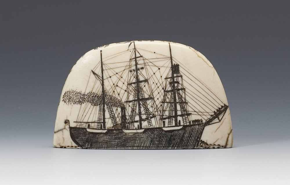 Iñupiaq, scrimshaw, about 1900. Bone and graphite, 1 5/8 × 2 15/16 × 1 15/16 in. Hood Museum of Art, Dartmouth College: Bequest of Frank C. and Clara G. Churchill; 46.17.14737.