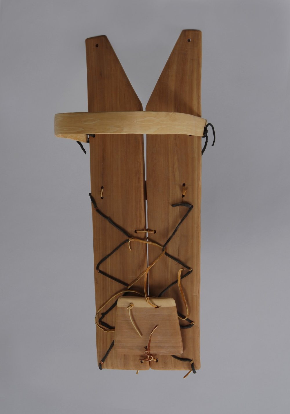 Diné (Navajo), wood cradle board, 1972. Cedar, pine, and leather, 28 3/8 × 10 1/4 × 2 3/4 in. Hood Museum of Art, Dartmouth College: Museum Purchase; 173.4.25448.