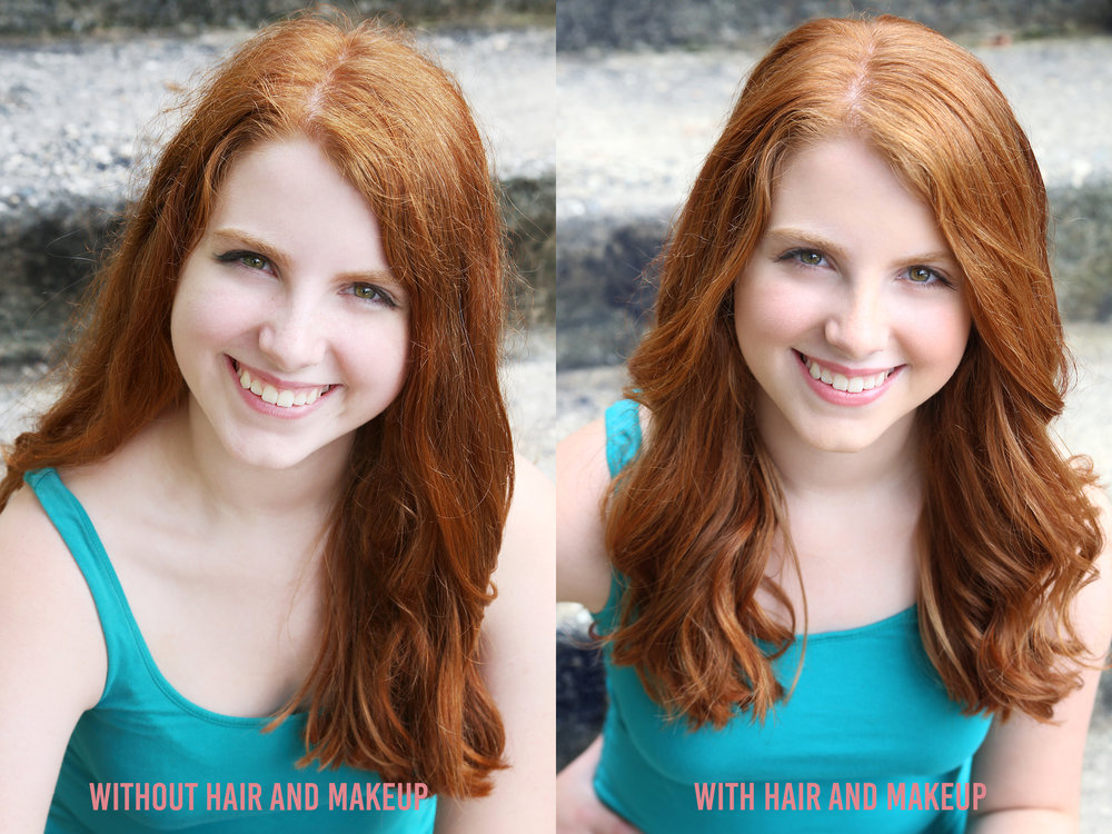 Here you can see the importance of hiring a hair and makeup artist. -