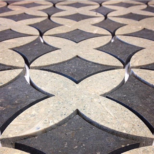 Limestone mosaic process shot