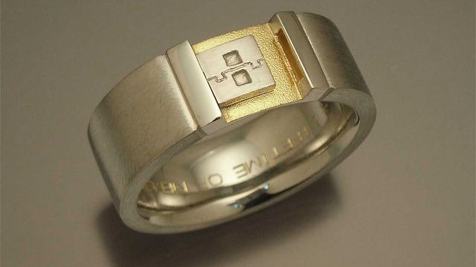 An actual wedding band, custom-made for a  Microsoft Game Studios  Software Development Engineer.