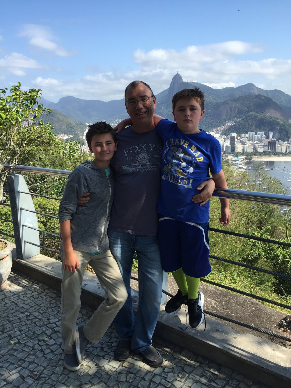 Rio de Janeiro w/ the boys.. - And the Corcovado watching over us in the distance…