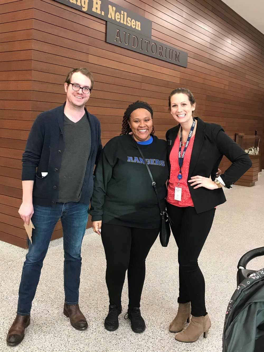 MTC alumni Jake Warren, Melishia Brooks, and Allison Peña (left to right) at the Museum of Mississippi History.