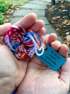 Yarn hearts that will be made by Knit Wits this semester. Photo Courtesy of http://www.thepeytonheartproject.org/