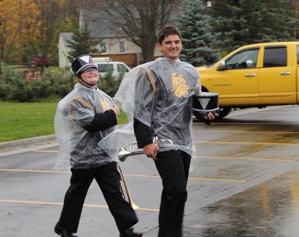 Members of the marching band walking the homecoming parade. Photo courtesy of Mat Gilderman