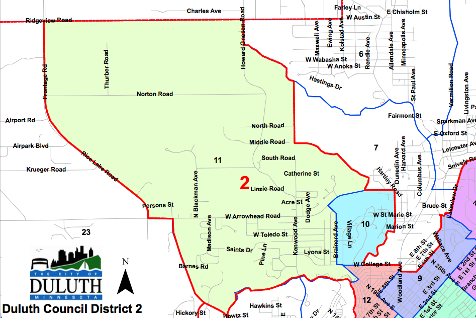 Duluth's Second District -  Map Courtesy of The City of Duluth