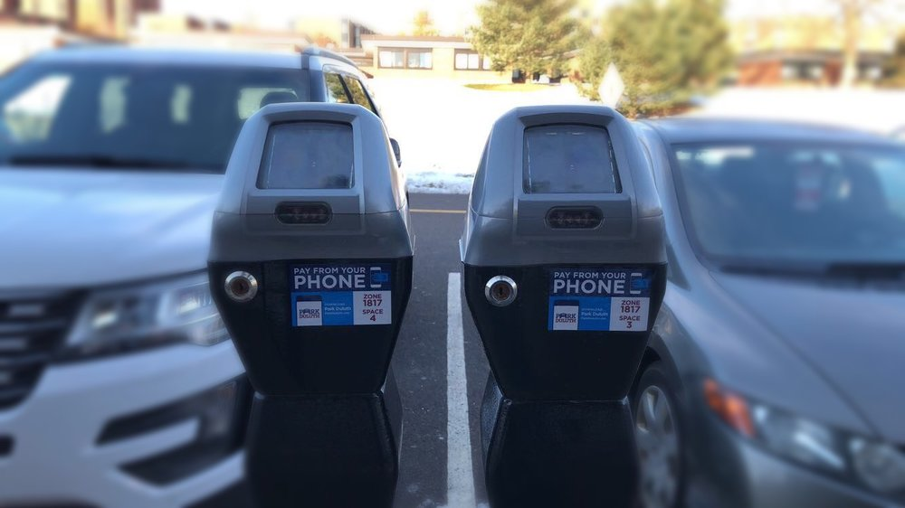 The digital parking meters Park Duluth works with include the app's logo and your space information. Photo courtesy of Zack Benz