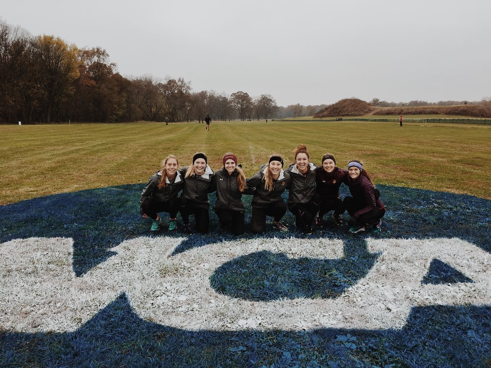 Women's CC team Friday before the race. Photo courtesy of Joanna Warmington
