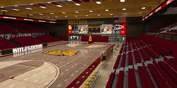 Romano Gym will undergo upgrades to the playing surface, seating, and locker rooms as part of the $10 million renovation. Courtesy of UMD Athletics.