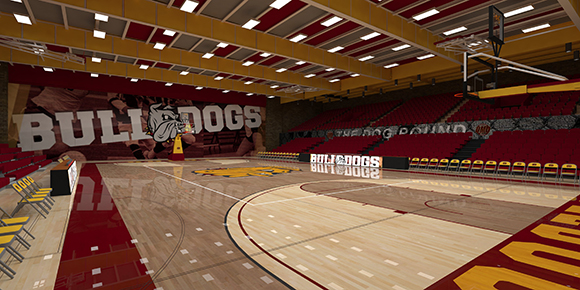 Romano Gym will feature more Bulldog pride by showcasing the school colors and logo. Courtesy of UMD Athletics.