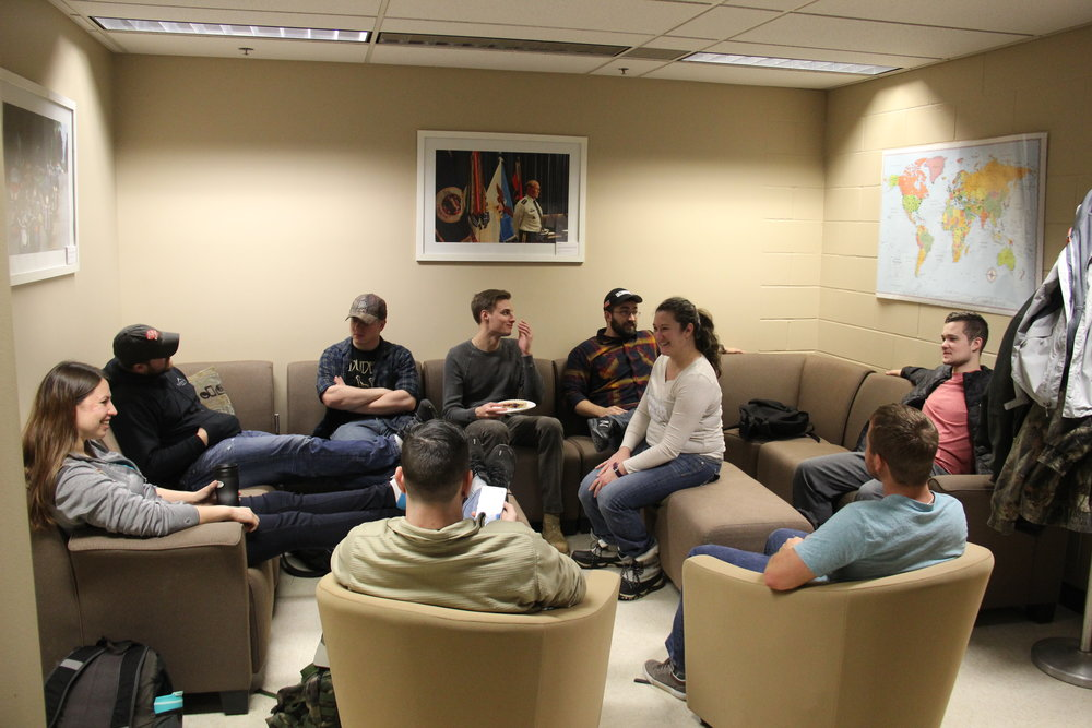Many student veterans visit the Veterans Club office to connect with other vets, enjoy free coffee, and learn about resources available to help them succeed. Photo by Tyler Schendel.