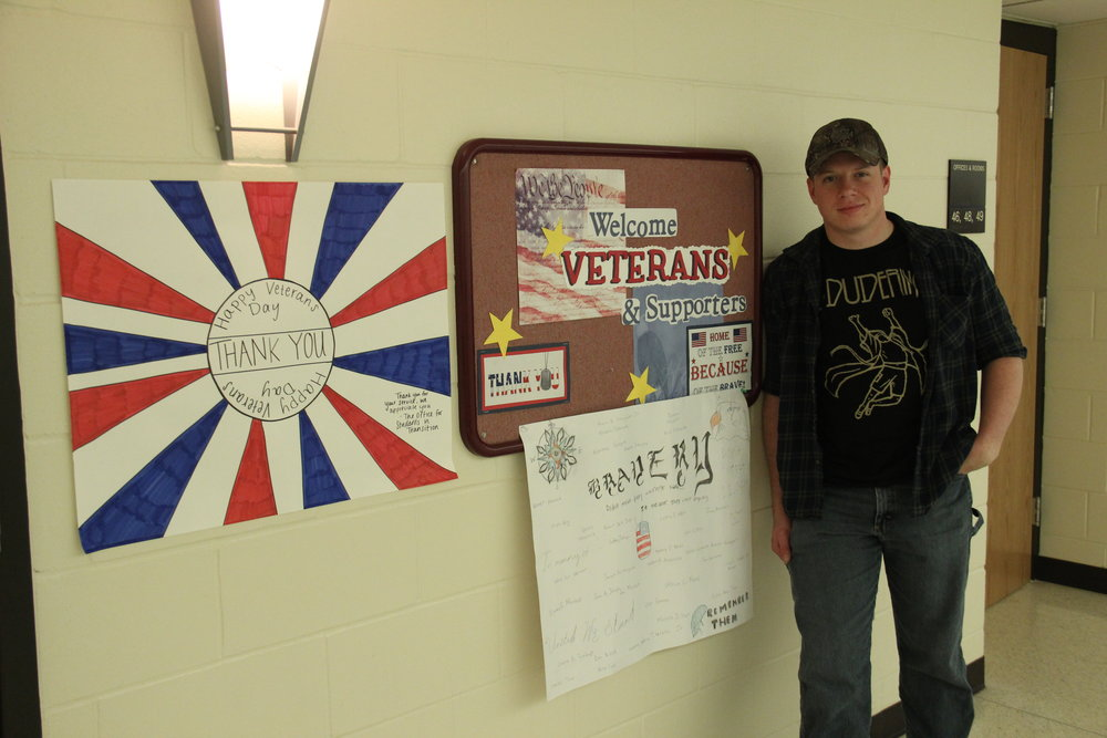 Student veteran Kodey Weis served as president of the Veterans Club during his sophomore year and still assists veterans that need resources on campus. Photo by Tyler Schendel.
