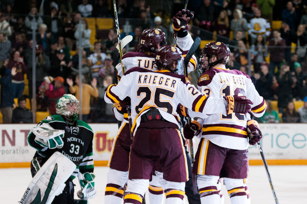 UMD celebrating one of their five goals. Photo courtesy of Alex Ganeev