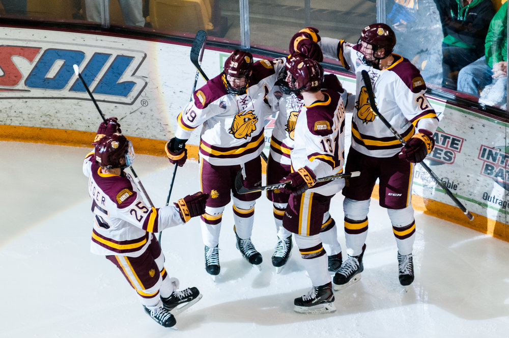 Bulldogs celebrating after of their five goals last Saturday night. Photo courtesy of Alex Ganeev