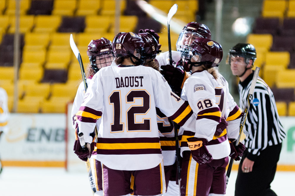 UMD Head Coach Maura Crowell said her team has been able to rise to the occasion against its toughest competition this season. Photo by Alex Ganeev.