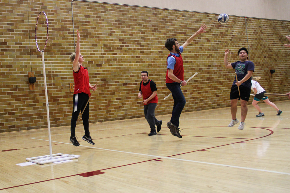 Connor Kropp, Naseem Farahid, Peter Dvoracek, Harry Vang and Sara Jorgenson practice playing quidditch at RSOP on Thursday, Jan. 25. Photo by: Krista Mathes