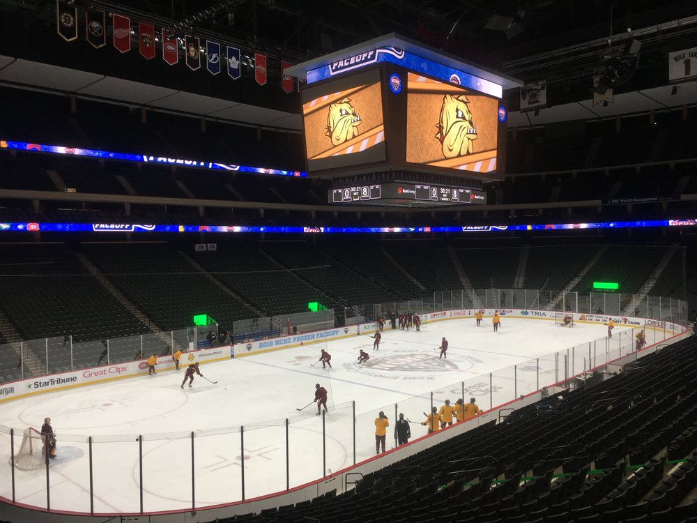 UMD hits the Xcel ice for practice before taking on Denver. Photo by Austin Rush