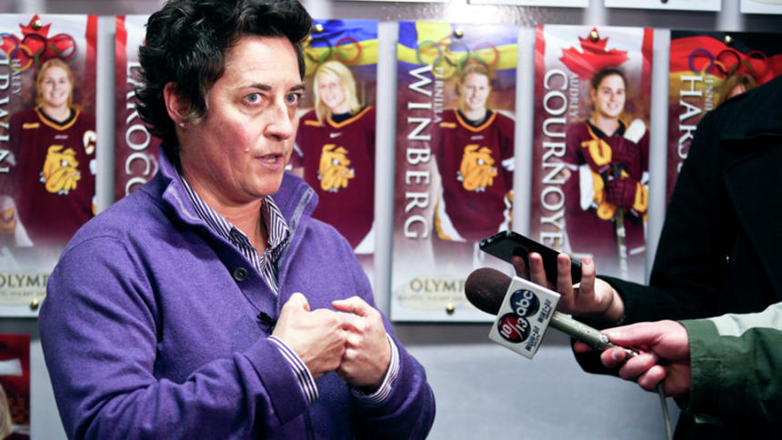 Shannon Miller, former UMD women's hockey coach, in December 2014. Miller won the trial against UMD on March 15, 2018. Photo courtesy of Clint Austin/Duluth News Tribune.