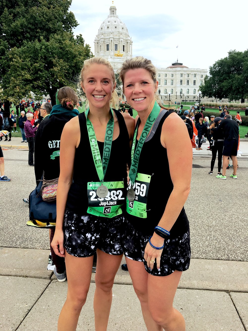Katie Bjorklund, left, and Carissa Carroll, right, from the Medtronic Twin Cities 10 Mile Marathon in October of 2017. Photo courtesy of Katie Bjorklund