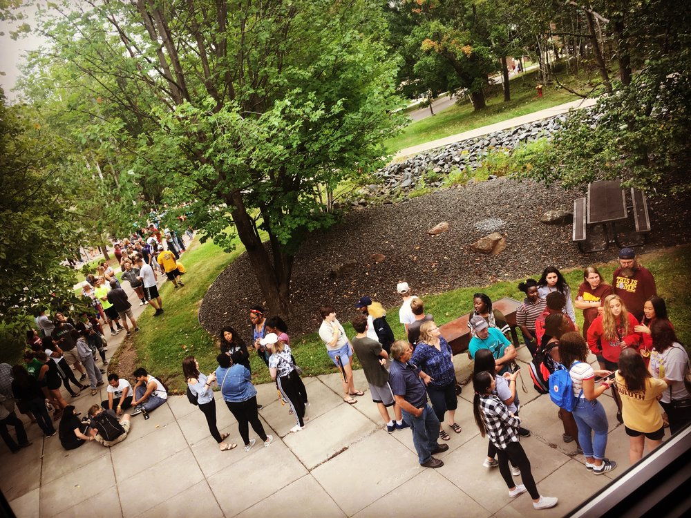 A line of people waited for the doors to the Free Store to open on move-in day Aug. 21, 2018. Some of them stood out there for almost two hours. Photo courtesy of Jonna Korpi