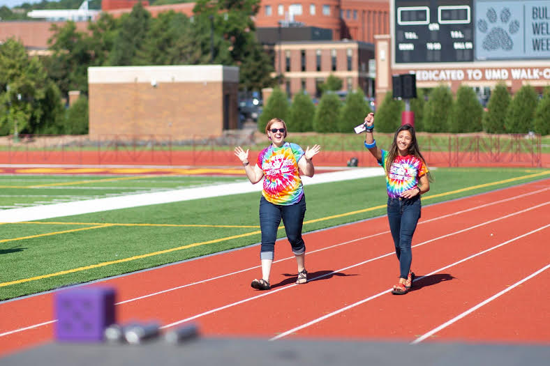 Emily Borra and intern Lauren Kotz at the Bulldog Preview BBQ on August 21st, 2018. Photo by Nick Vittorio