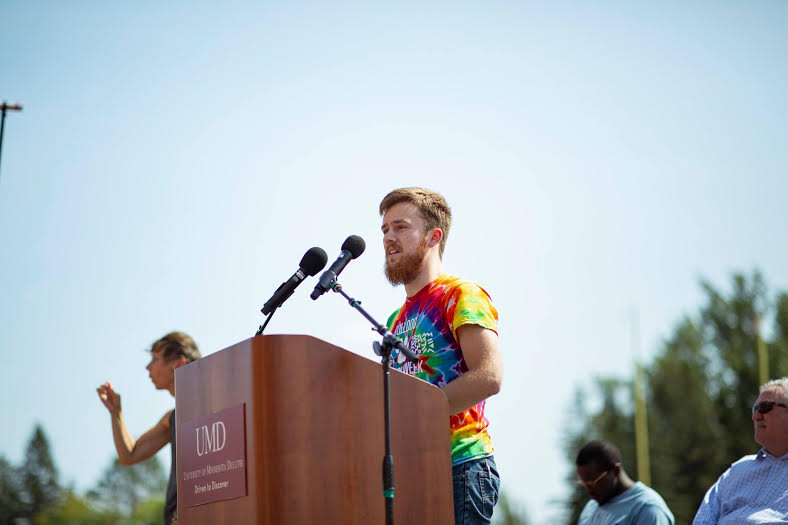 Jacob G. Larsen giving a speech on how Duluth and UMD is his home. Photo by Nick Vittorio