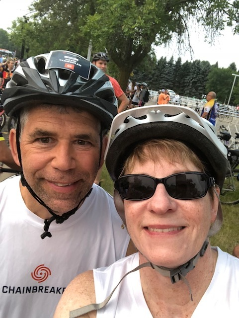 Regional Campus Dean for the Medical School, Paula Termuhlen, with her husband at the Chainbreaker Ride on Aug. 12, 2018. Termuhlen rode her bike 25 miles for the Chainbreaker Ride to raise money for cancer research. Photo courtesy of Paula Termuhlen