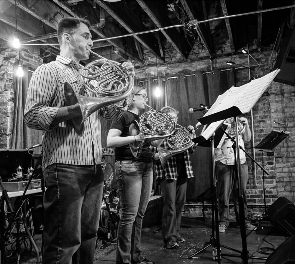 Borra and the Northlands Finest Horn Choir playing at the event Homegrown in 2016. Photo courtesy of Emily Borra.