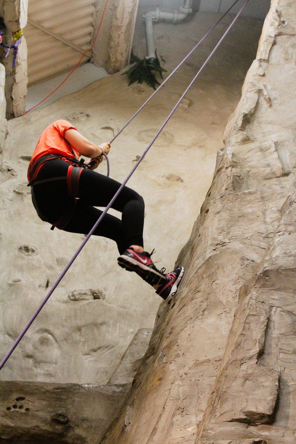 Andie Zuelke is belayed down after climbing to the top of the Inland Wall during Women on the Wall on Sept. 12, 2018. At this event, women would cheer and clap for the climbers who overcame tough obstacles while climbing. Photo by Morgan Pint