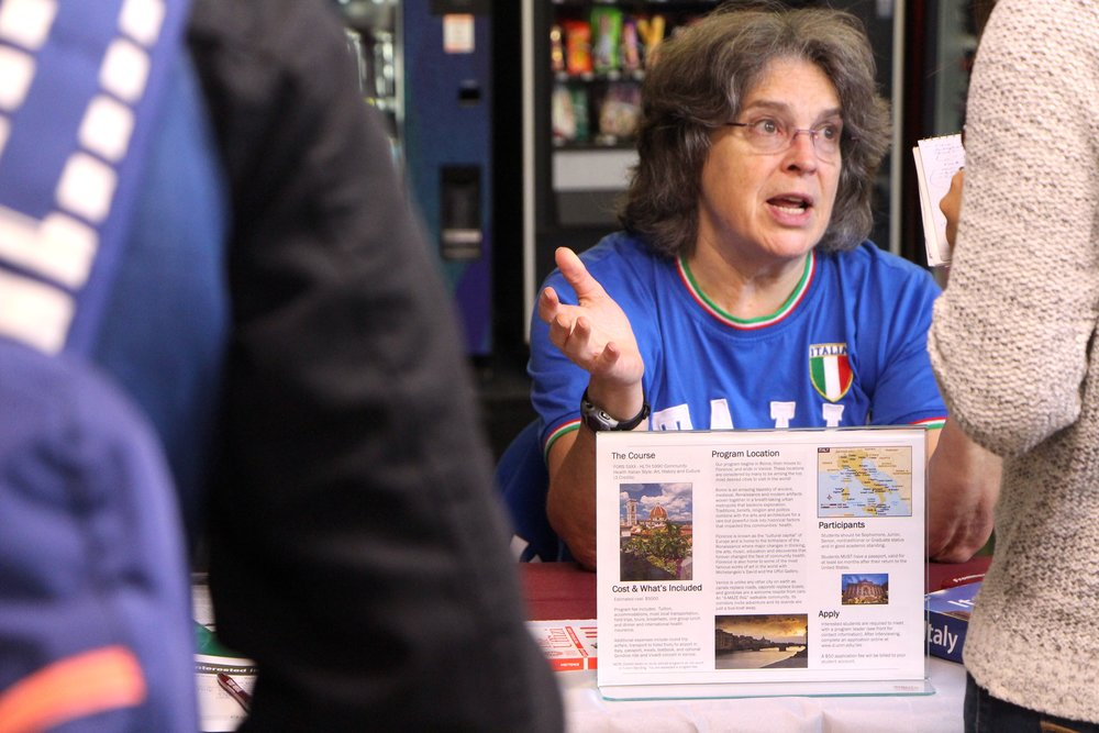 Lisa Vogeslang, co-leader for the short-term program Community Health History in Italy, at the Study Abroad Fair on Sept. 20, 2018. Vogeslang wants to show the relations between health and history to students studying abroad in the program. Photo by Zack Benz