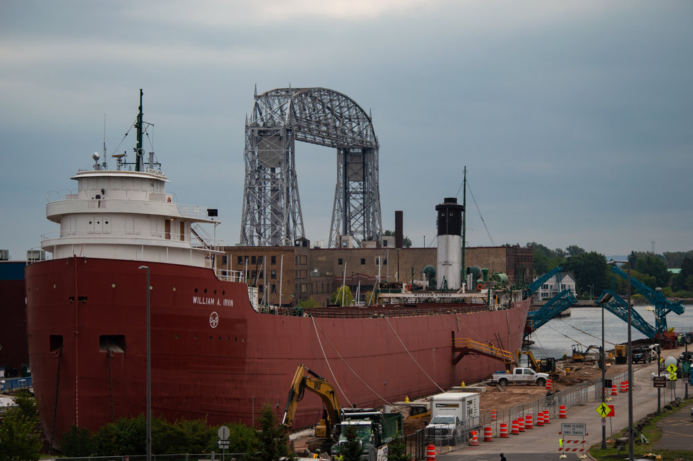 The William A. Irvin undergoing construction on Sept. 14, 2018. The Irvin was moved to Fraser Shipyards in September to have the seawall repaired and for pollution to be taken care of where the ship is regularly docked. Photo by Jake Barnard