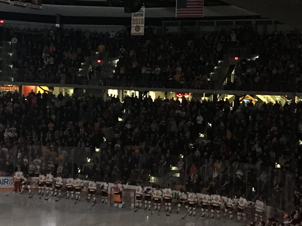 UMD unveils the National Championship banner to a sellout crowd at Amsoil Arena. Photo by: Vincent Harvieux.