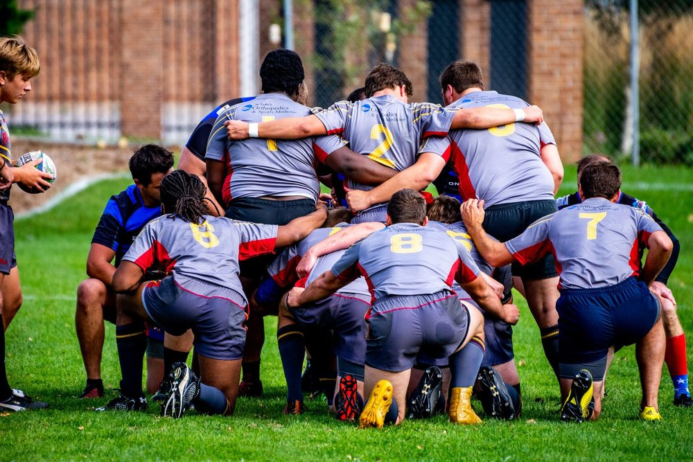 UMD Men's Rugby Football Club gets into position for a scrum. Photo by Nemuel Nyangaresi