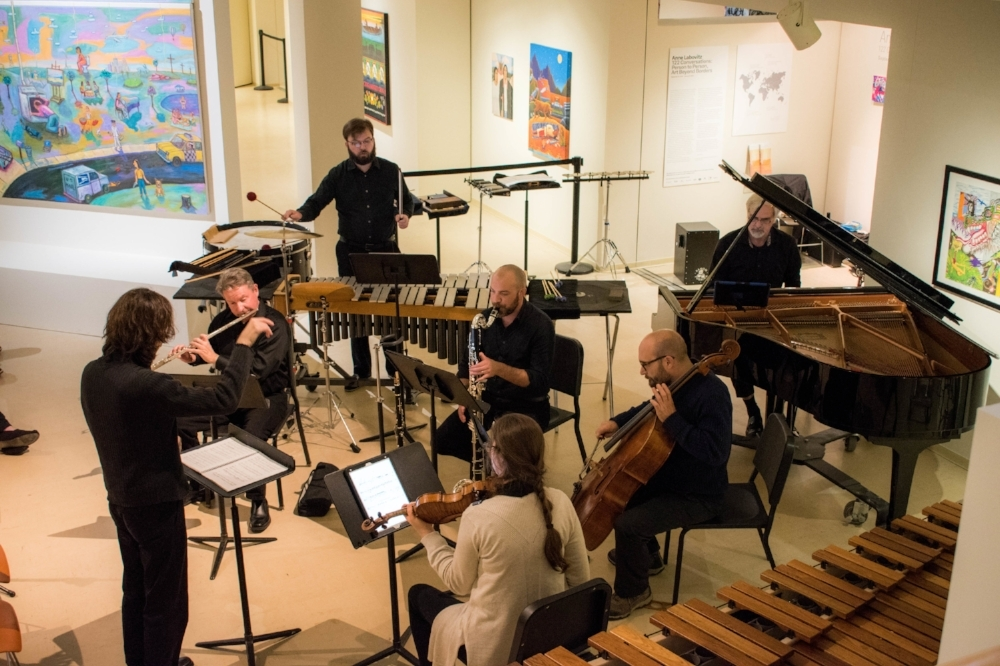 One of the groups that performed at the opening concert was No Exit New Music Ensemble. No Exit is based in Cleveland, Ohio. Photo taken by Karli Kruse
