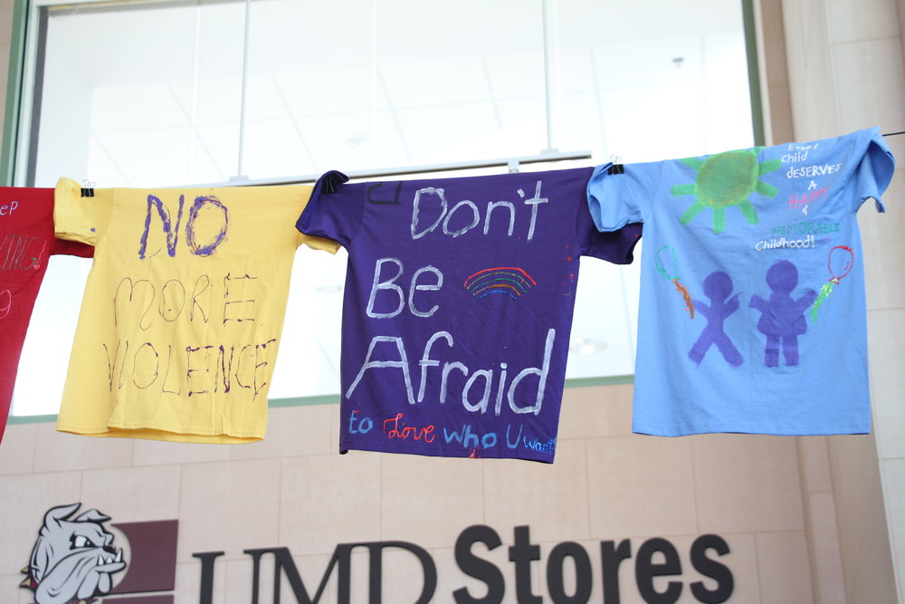 The T-shirts were decorated with meaningful words by students and community members. Photo by Ren Friemann