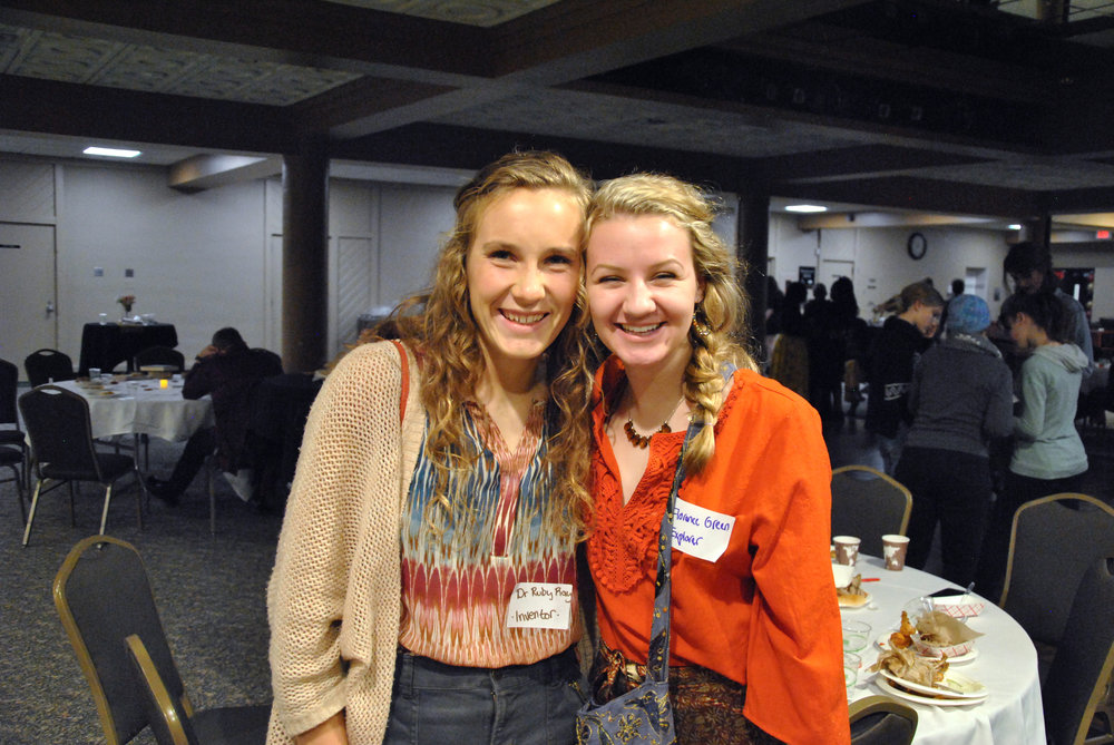 First-year students Grace Aspenson and Sarah Dvoracek participating in Murder Mystery at Kirby Ballroom on Nov. 2, 2018. Aspenson found out about the event from her chemistry class. Photo by Rebecca Kottke