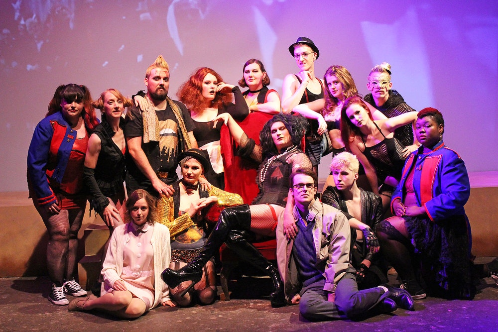 The cast of The Rocky Horror Picture Show during their final dress rehearsal. Photo courtesy of The Duluth Playhouse and Crimson Clear Productions