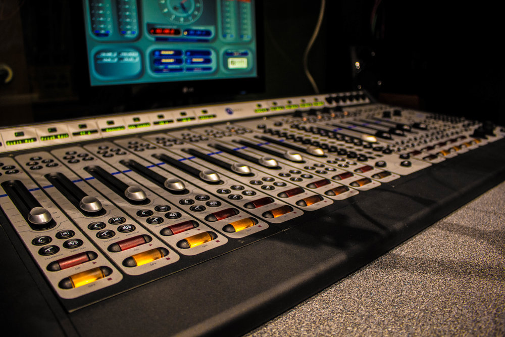 Mixing board located in the KUMD studio. Photo by Justin Flesher
