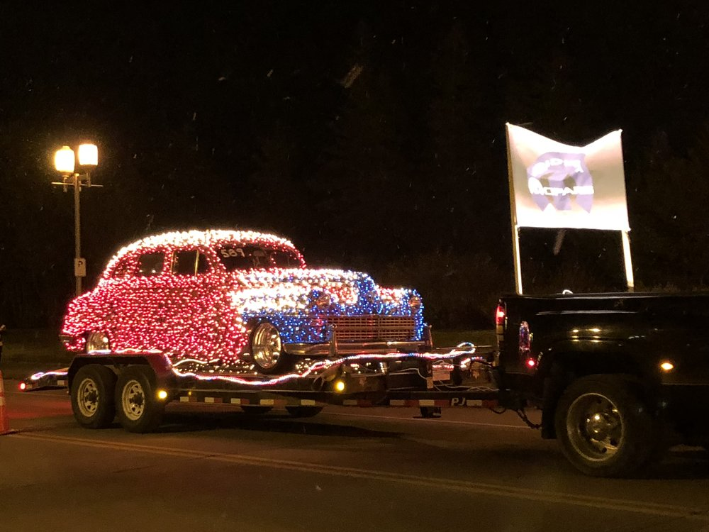 A lit up float in the parade. Photo by Clare Cade