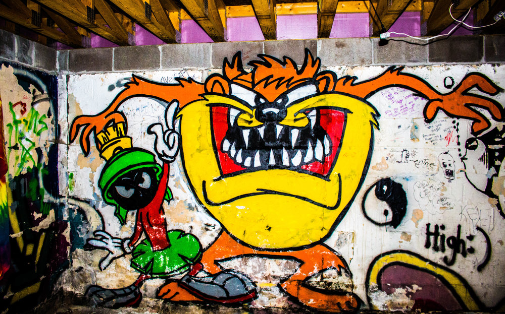 """Looney Tunes characters """"Taz"""" and """"Marvin the Martian"""" that Dwyer spray painted in a friends basement. Photo by Justin Flesher"""