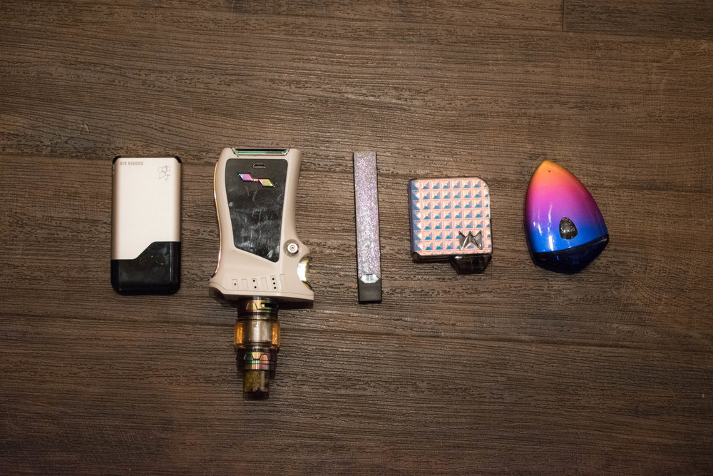 Different vaping devices. Photo by Karli Kruse