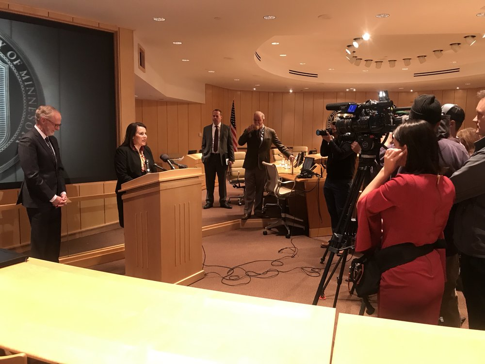 President-Designee Joan Gabel spoke at her first press conference on Dec. 18, 2018. Photo courtesy of Mike Kenyanya