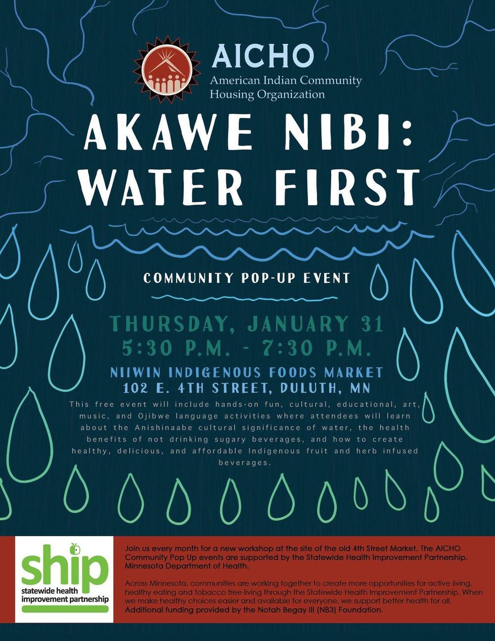 Akawe Nibi Water First poster. Photo courtesy of AICHO.jpg