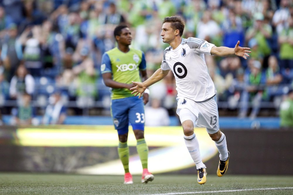 Finlay celebrates his debut goal against the Sounders, Photo Courtesy of Minnesota United