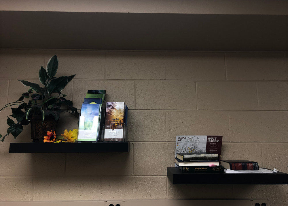 Various books and pamphlets included in prayer room, Photo Courtesy of Madison Hunter